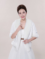 Wedding  Wraps Coats/Jackets 3/4-Length Sleeve Faux Fur Ivory Wedding / Party/Evening / Casual V-neck Pattern Open Front