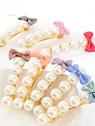 Korean Style Ribbon Fabfic Bowknot Kute  Pearl College Lady Barrettes(Random Color)