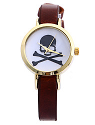 Women's Skull Head Pattern Round Dial PU Band Fashion Analog Quartz Wrist Watch Cool Watches Unique Watches