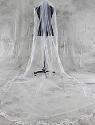 Wedding Veil One-tier Chapel Veils Cathedral Veils Lace Applique Edge Tulle White Ivory