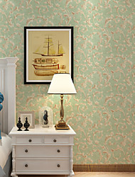 Floreale Carta da parati Contemporaneo Rivestimento pareti , Carta 3D Flocking Wallpaper