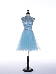 Cocktail Party Dress A-line Jewel Short / Mini Tulle with Beading / Crystal Detailing / Sequins