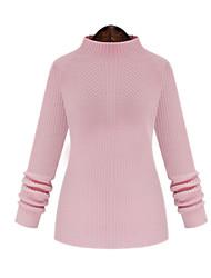 Pullover Aux femmes Manches Longues Décontracté Coton Opaque