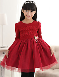 Girl's Pink / Red Dress,Floral Polyester Fall