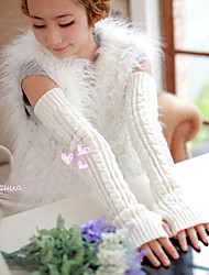 Women's Winter Long Twist Arm Set Of Knitting Wool Gloves