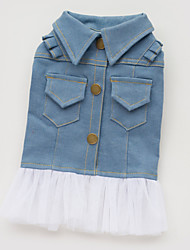 Dog Dress / Denim Jacket/Jeans Jacket Blue Dog Clothes Summer / Spring/Fall Jeans Fashion