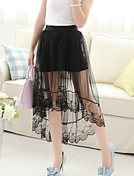 Women's Fashion Black Lace Asymmetrical Skirts