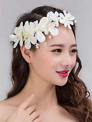 White Full-Pearl Flower Hair Forehead Jewelry Fascinators for Wedding Party Decoration