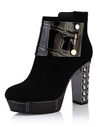 KOMANIC Women's Leather Chunky Heel Boots Black