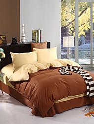 cubierta fundas bedsheet edredón de dos tonos (canario + café)