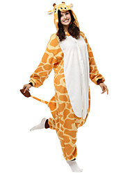 Lovely Giraffe Yellow Polar Fleece Kigurumi Pajamas Cartoon Sleepwear Animal Halloween Costume