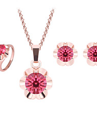 Women Wedding Bridal Flower-shaped Ruby Crystal Pendant Necklace Earrings Rings Three-piece Of Clavicle Chain