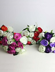 "9.9""H Hand-made Silk Artificial Tea Rose 1pc/set Wedding Bridal Bouquet"