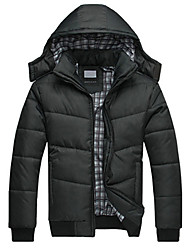Men thicken detachable jacket quilted black puffer coat male overcoat parka outwear cotton padded hooded down coat SOUH4
