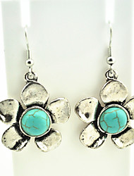 Vintage Look Antique Silver Plated Flower Turquoise Stone Drop Dangle Earring(1Pair)