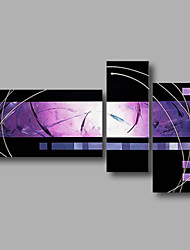 Ready to Hand Stretched Hand-Painted Oil Painting Three Panels Canvas Wall Art Modern Black Purple Abstract