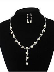 Conjunto de jóias Imitação de Pérola / Strass Imitação de Pérola / Liga / Strass Mulheres