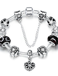 Vintage Elegant Women's Rhinestones Glass Silver Plated Tin Alloy Charm Bracelet(Multicolor)(1Pc)