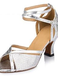 Non Customizable Women's Dance Shoes Latin Leather Cuban Heel Silver