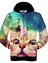 Polyester Fabrics, Design Of 3 d Printing, One-horned Cat, Hooded Jacket