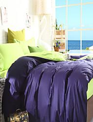 Two-Tone Bedsheet Pillowcases Duvet Cover(Blue+Green)