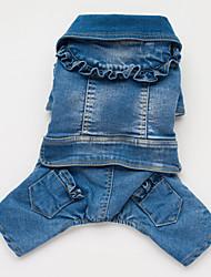 honden Jassen / Jumpsuits / Denim jacks Blauw Hondenkleding Lente/Herfst Jeans Cowboy