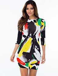 Women's  Brush Aside Print Bodycon Dress
