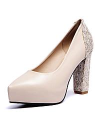 Women's Shoes PVC / Leatherette Chunky Heel Heels Heels Wedding / Office & Career / Dress / Casual Black / Red