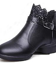Non Customizable Women's Dance Shoes Leatherette Leatherette Dance Sneakers Sneakers Chunky Heel Practice / Outdoor / PerformanceBlack /