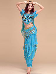Belly Dance Outfits Women's Performance Chinlon / Spandex Draped 4 Pieces 6 Colors