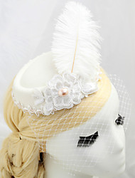 Women's / Flower Girl's Feather / Fabric / Net Headpiece-Wedding / Special Occasion Birdcage Veils 1 Piece