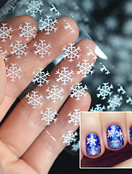 2016 Christmas Snowflake Stickers White Light Snow Transfer Printing Paste Star Paper Bottled 4 * 100