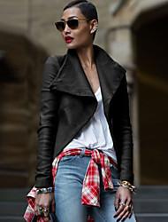 Fashion Women Turndown Collar Long Sleeve PU Outerwear Tops Blouse