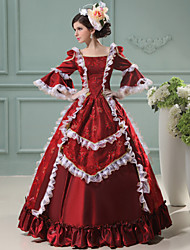 One-Piece/Dress Gothic Lolita Steampunk® / Victorian Cosplay Lolita Dress Red Vintage Long Sleeve Long Length Dress For WomenSatin / Lace