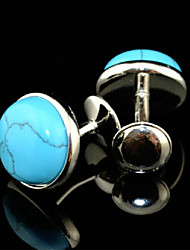 Fashion Copper Men Gift Jewelry Silver Round Turquoise Amethyst  Stone Button Cufflinks(1Pair)
