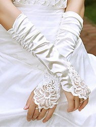 Elbow Length Fingerless Glove Satin Bridal Gloves