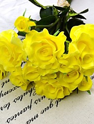 Wedding Flowes Bouquet Real Touch PU Yellow Rose
