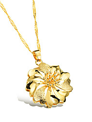 Plum Blossom Ms Vacuum Plating 18 K Gold Don't Rub Necklace