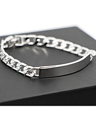 Top Quality Titanium Steel Platinum pt Plated ID Bracelet for Men(8mm*21cm)