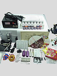 2 Gun BaseKey Tattoo Kit 225  Machine With Power Supply Grips Cups Needles(Ink not included)