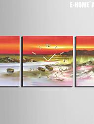 Quadrato Moderno/Contemporaneo Orologio da parete , Altro Tela 30 x 60cm(20inchx20inch)x2pcs+ 60 x 60cm(24inchx24inch)x1pcs