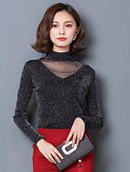 Spring New Women Slim Was Thin Net Yarn Splicing Bottoming Shirt Fashion Long Sleeve T-Shirt Blouse Tops