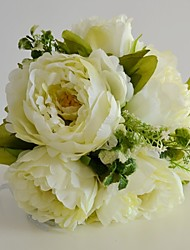 Vintage Artificial Silk Ivory Peony Bouquet for Wedding Flowers
