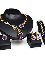 Women Wedding Party Amethyst Twist Wave Water Droplets Necklace Earrings Ring Bracelet Four Sets