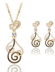 Women Wedding Party Hollow Cloud Pattern Pendant Rose Gold Clavicle Chain Necklace Earrings Two-piece
