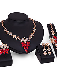 Women Wedding Bridal Red Crystal Snow Lotus Flower-shaped Necklace Earrings Ring Bracelet Four - piece