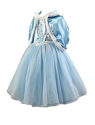 Girl's Spring and Autumn Dress Princess Dress Long-sleeve Dress and Shawl Two Pieces Sets