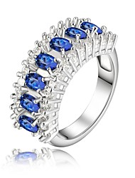 925 Silver Plated Diamond Blue Crystal Statement Rings Wedding/Party/Daily/Casual 1pc