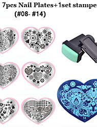 2016 New Love Heart Shape 7pcs Nail Art Stamping Template+ 1set Nail Stamper Scraper  (08-14)