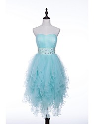 Cocktail Party Dress - Pool / Sky Blue A-line Strapless Short/Mini Tulle